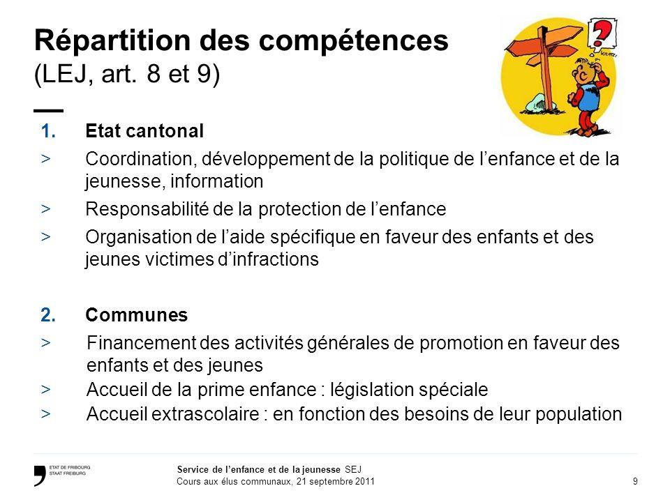 9 Service de lenfance et de la jeunesse SEJ Cours aux élus communaux, 21 septembre 2011 Répartition des compétences (LEJ, art.