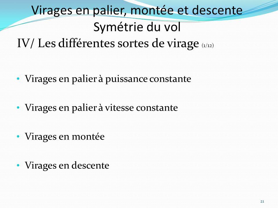 Virages en palier, montée et descente Symétrie du vol IV/ Les différentes sortes de virage (1/12) Virages en palier à puissance constante Virages en palier à vitesse constante Virages en montée Virages en descente 21