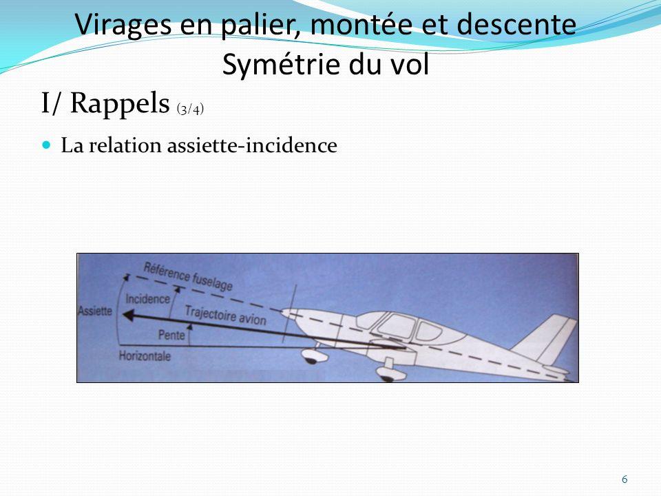 Virages en palier, montée et descente Symétrie du vol La relation assiette-incidence I/ Rappels (3/4) 6