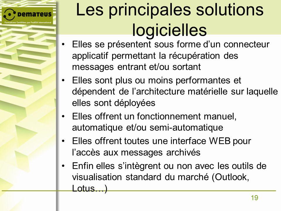 19 Les principales solutions logicielles Elles se présentent sous forme dun connecteur applicatif permettant la récupération des messages entrant et/o