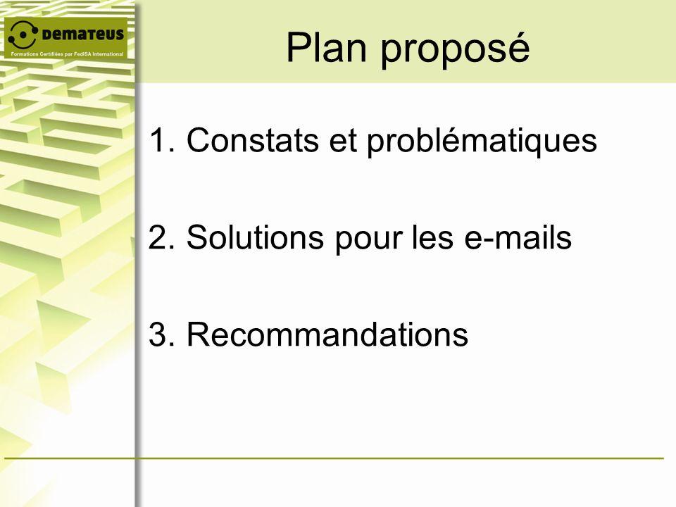 1.Constats et problématiques 2.Solutions pour les e-mails 3.Recommandations Plan proposé