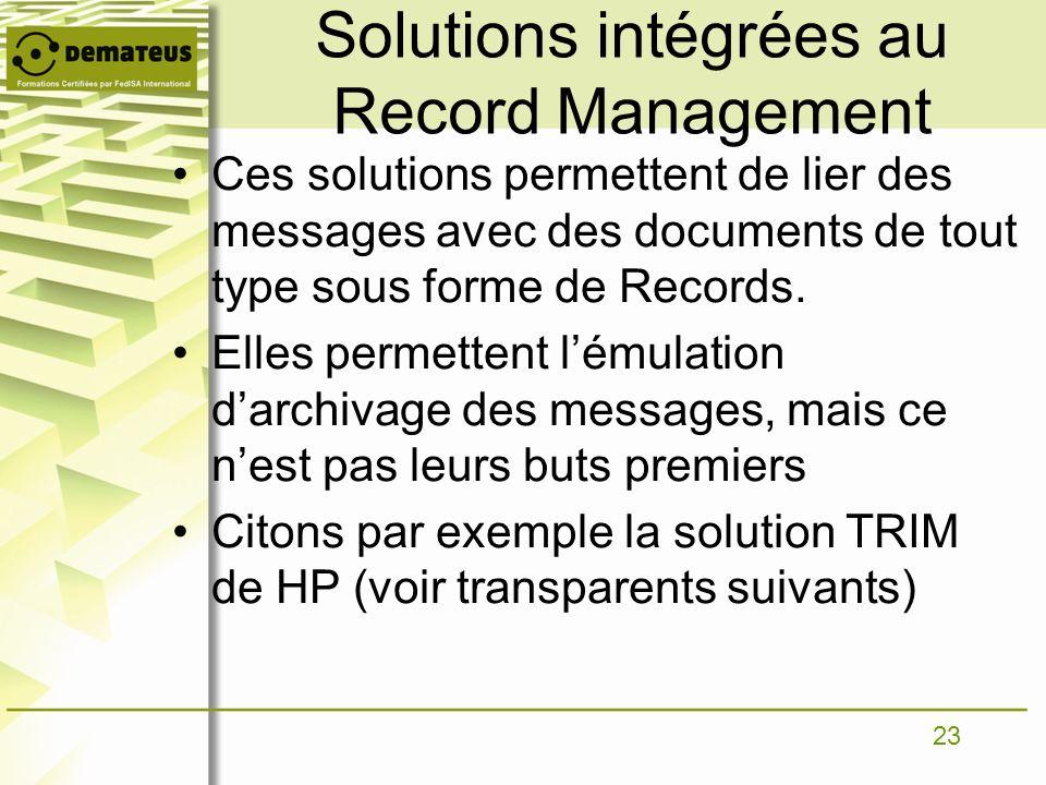 23 Solutions intégrées au Record Management Ces solutions permettent de lier des messages avec des documents de tout type sous forme de Records. Elles