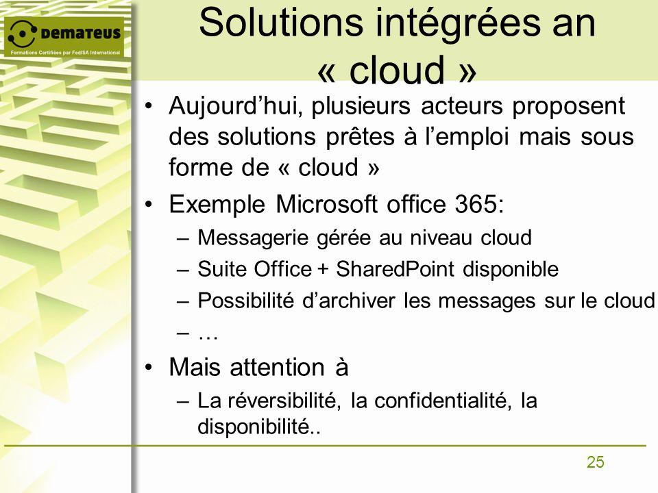 25 Solutions intégrées an « cloud » Aujourdhui, plusieurs acteurs proposent des solutions prêtes à lemploi mais sous forme de « cloud » Exemple Micros