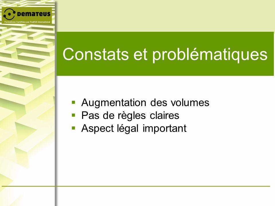 Constats et problématiques Augmentation des volumes Pas de règles claires Aspect légal important