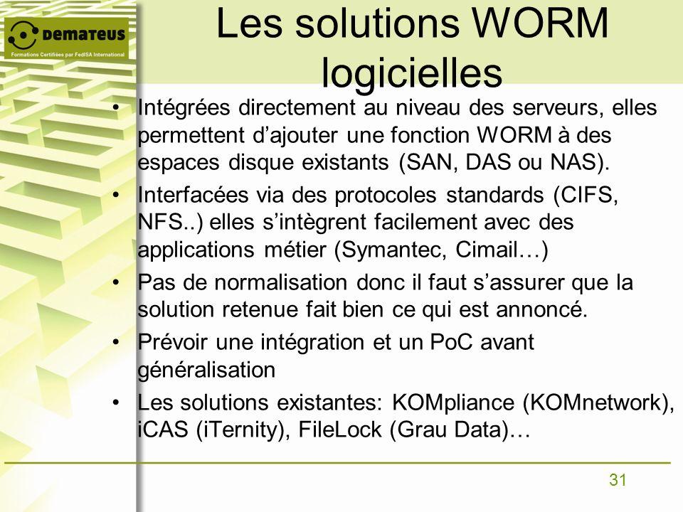 31 Les solutions WORM logicielles Intégrées directement au niveau des serveurs, elles permettent dajouter une fonction WORM à des espaces disque exist