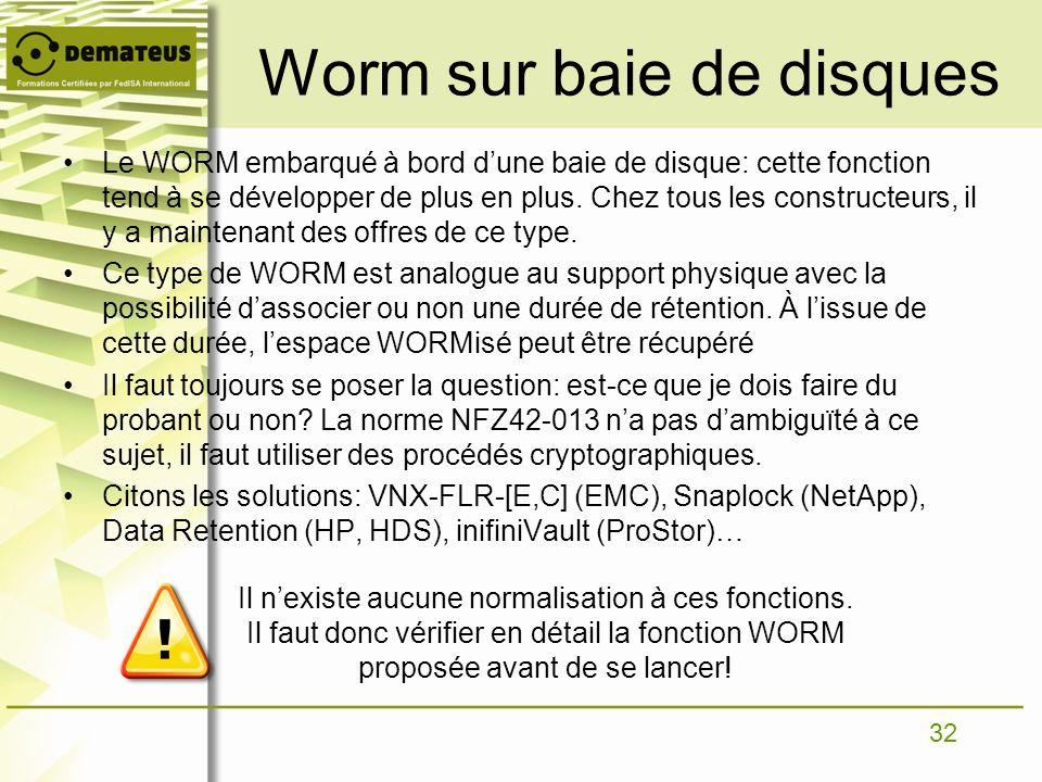 32 Worm sur baie de disques Le WORM embarqué à bord dune baie de disque: cette fonction tend à se développer de plus en plus. Chez tous les constructe