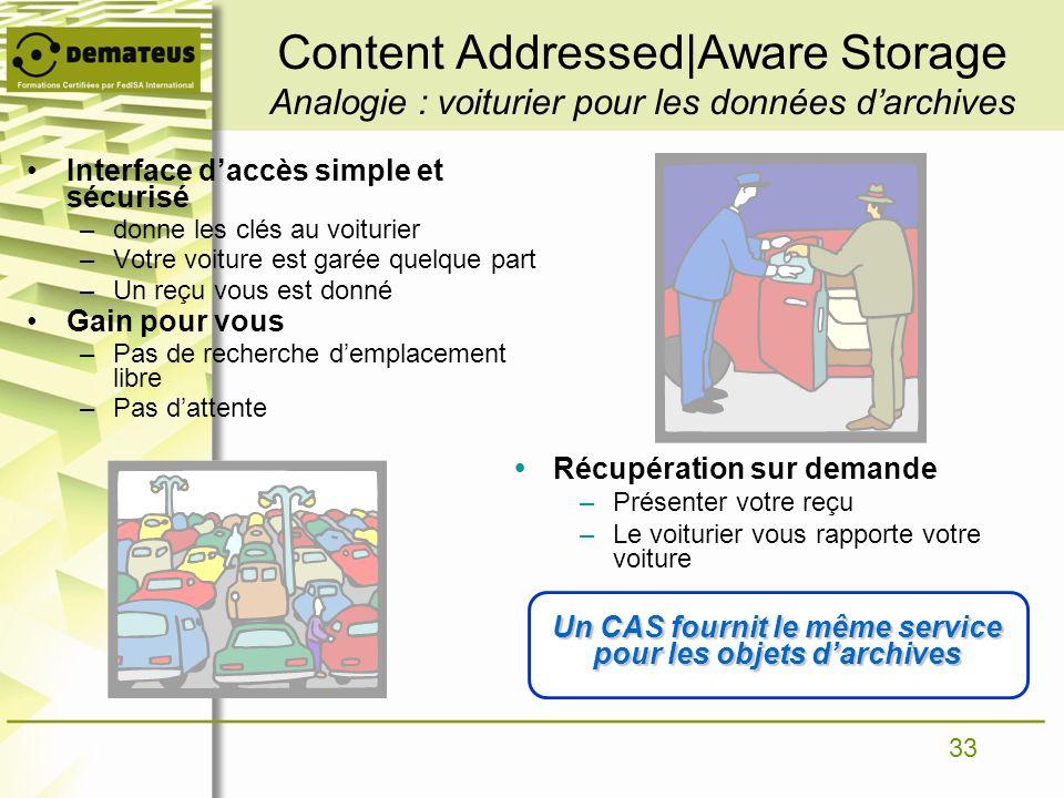 33 Content Addressed|Aware Storage Analogie : voiturier pour les données darchives Interface daccès simple et sécurisé –donne les clés au voiturier –V