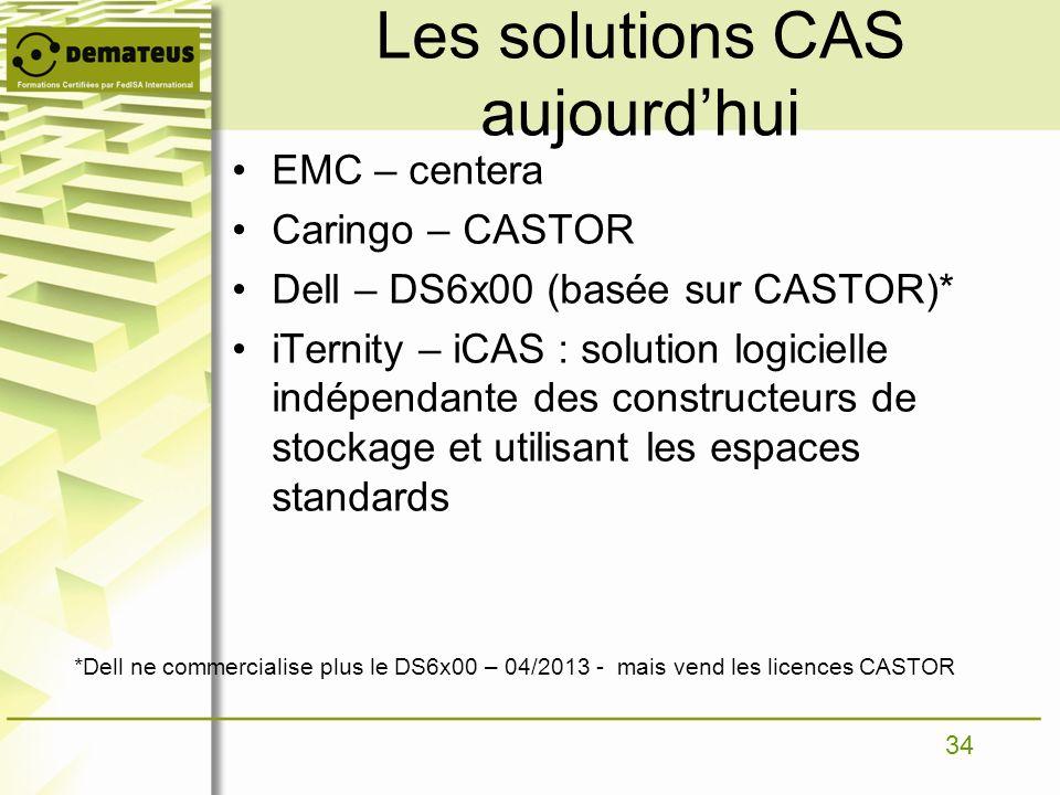 34 Les solutions CAS aujourdhui EMC – centera Caringo – CASTOR Dell – DS6x00 (basée sur CASTOR)* iTernity – iCAS : solution logicielle indépendante de