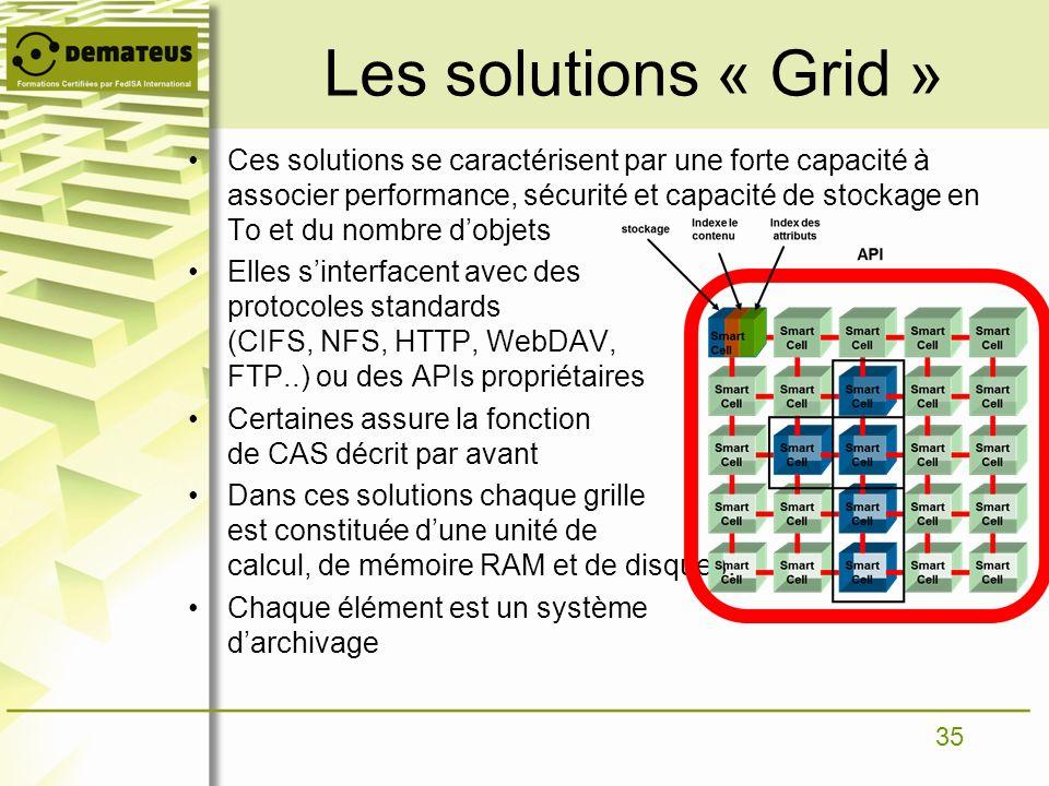 35 Les solutions « Grid » Ces solutions se caractérisent par une forte capacité à associer performance, sécurité et capacité de stockage en To et du n