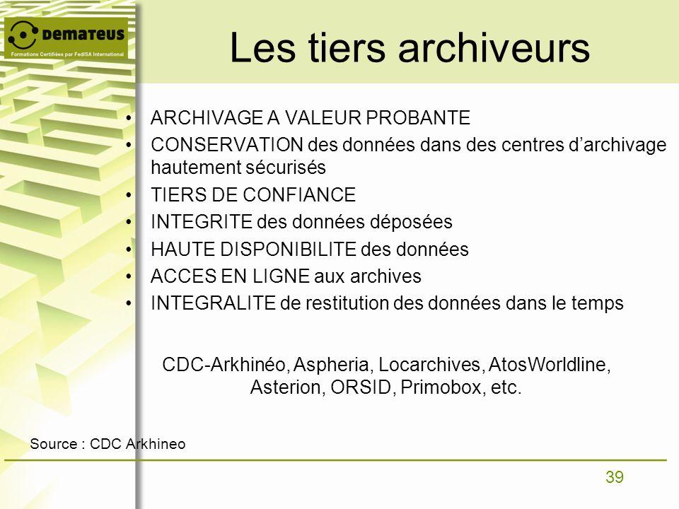 39 ARCHIVAGE A VALEUR PROBANTE CONSERVATION des données dans des centres darchivage hautement sécurisés TIERS DE CONFIANCE INTEGRITE des données dépos