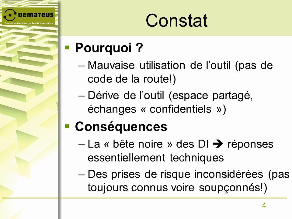 4 Constat Pourquoi ? –Mauvaise utilisation de loutil (pas de code de la route!) –Dérive de loutil (espace partagé, échanges « confidentiels ») Conséqu