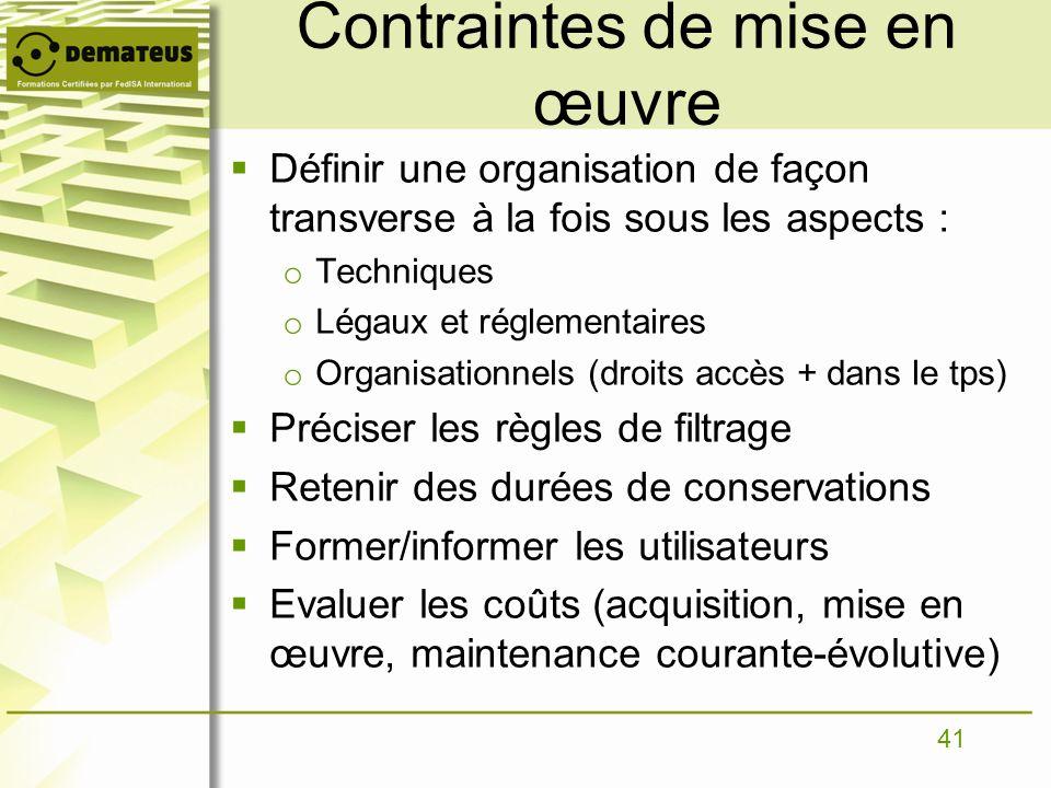 41 Contraintes de mise en œuvre Définir une organisation de façon transverse à la fois sous les aspects : o Techniques o Légaux et réglementaires o Or