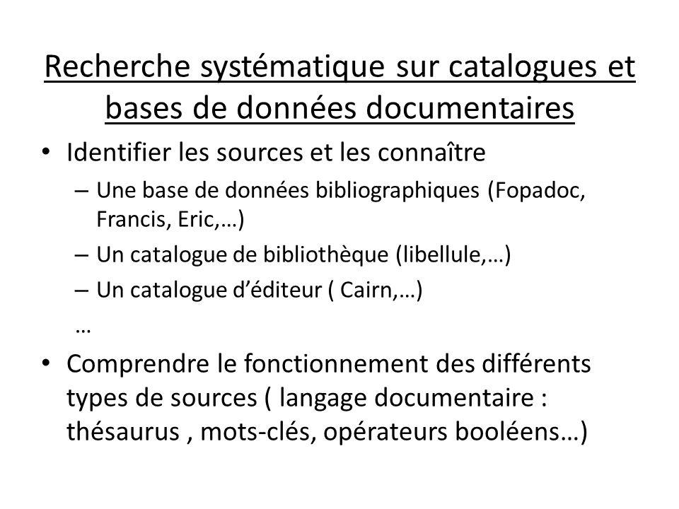 Recherche systématique sur catalogues et bases de données documentaires Identifier les sources et les connaître – Une base de données bibliographiques