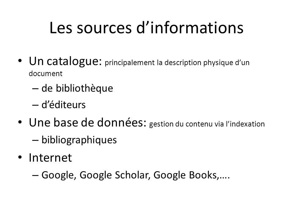 Les sources dinformations Un catalogue: principalement la description physique dun document – de bibliothèque – déditeurs Une base de données: gestion