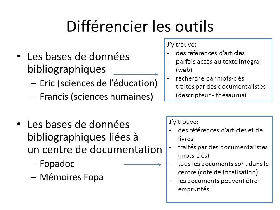 Différencier les outils Les bases de données bibliographiques – Eric (sciences de léducation) – Francis (sciences humaines) Les bases de données bibli