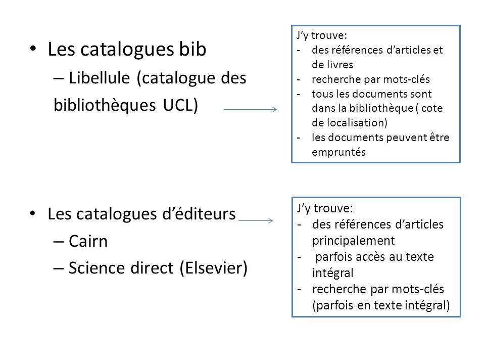 Les catalogues bib – Libellule (catalogue des bibliothèques UCL) Les catalogues déditeurs – Cairn – Science direct (Elsevier) Jy trouve: -des référenc