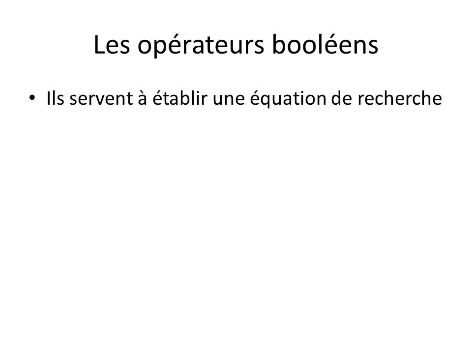 Les opérateurs booléens Ils servent à établir une équation de recherche