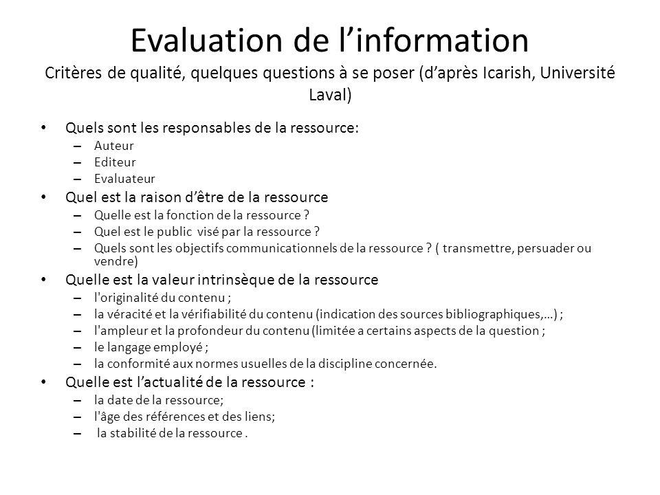 Evaluation de linformation Critères de qualité, quelques questions à se poser (daprès Icarish, Université Laval) Quels sont les responsables de la res