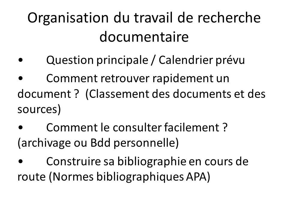 Organisation du travail de recherche documentaire Question principale / Calendrier prévu Comment retrouver rapidement un document ? (Classement des do