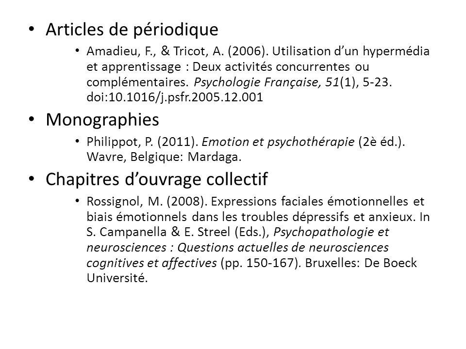Articles de périodique Amadieu, F., & Tricot, A. (2006). Utilisation dun hypermédia et apprentissage : Deux activités concurrentes ou complémentaires.