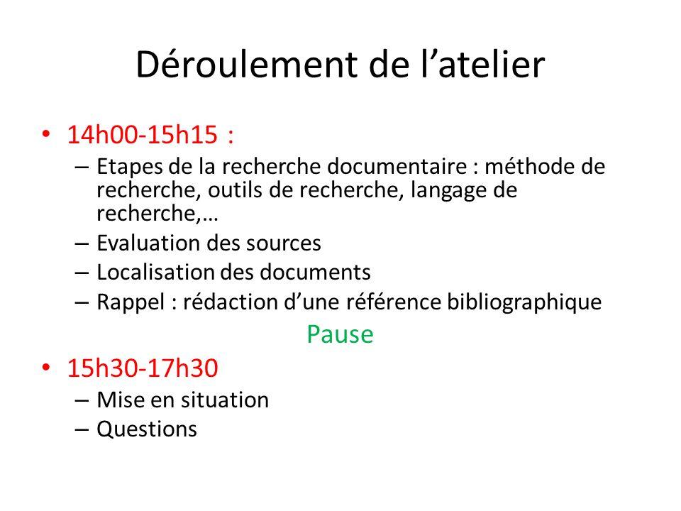 Déroulement de latelier 14h00-15h15 : – Etapes de la recherche documentaire : méthode de recherche, outils de recherche, langage de recherche,… – Eval