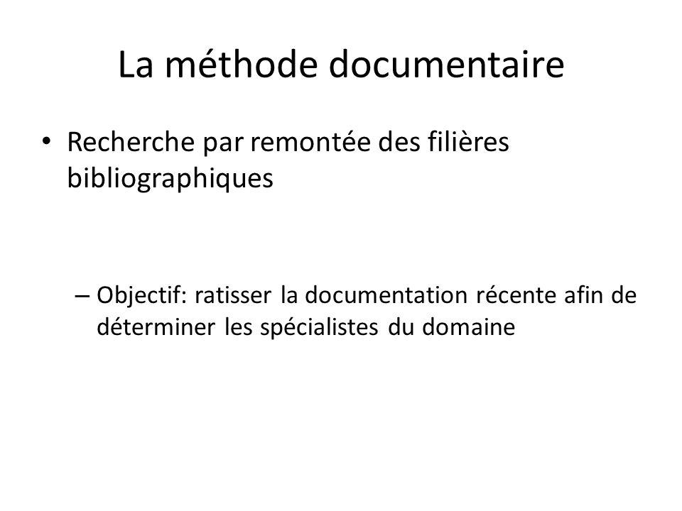 La méthode documentaire Recherche par remontée des filières bibliographiques – Objectif: ratisser la documentation récente afin de déterminer les spéc