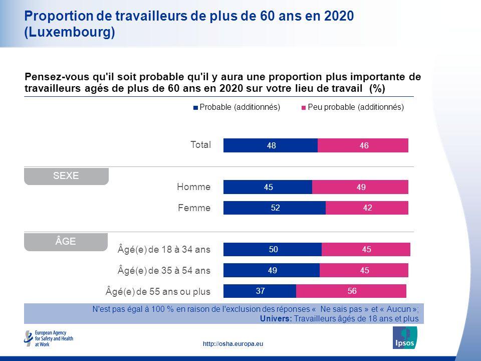 10 http://osha.europa.eu Total Homme Femme Âgé(e) de 18 à 34 ans Âgé(e) de 35 à 54 ans Âgé(e) de 55 ans ou plus Proportion de travailleurs de plus de 60 ans en 2020 (Luxembourg) Pensez-vous qu il soit probable qu il y aura une proportion plus importante de travailleurs agés de plus de 60 ans en 2020 sur votre lieu de travail (%) SEXE ÂGE N est pas égal à 100 % en raison de l exclusion des réponses « Ne sais pas » et « Aucun »; Univers: Travailleurs âgés de 18 ans et plus