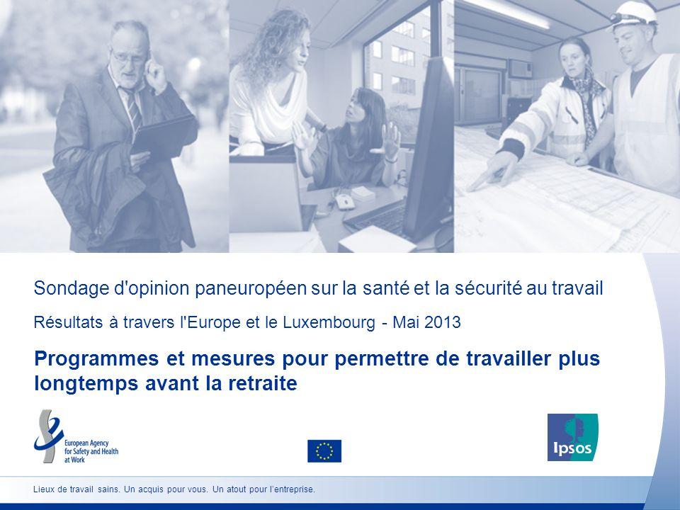 Sondage d opinion paneuropéen sur la santé et la sécurité au travail Résultats à travers l Europe et le Luxembourg - Mai 2013 Programmes et mesures pour permettre de travailler plus longtemps avant la retraite Lieux de travail sains.