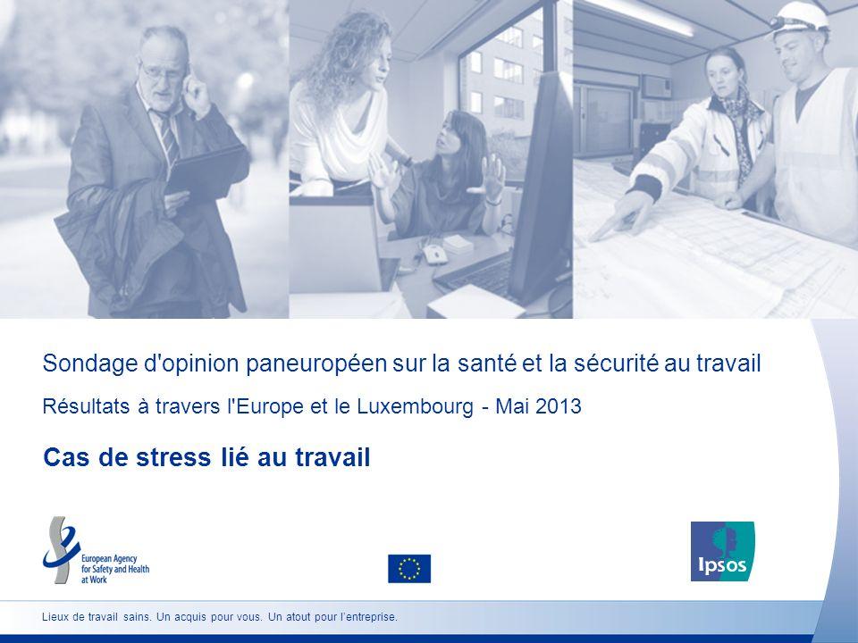 Sondage d opinion paneuropéen sur la santé et la sécurité au travail Résultats à travers l Europe et le Luxembourg - Mai 2013 Cas de stress lié au travail Lieux de travail sains.