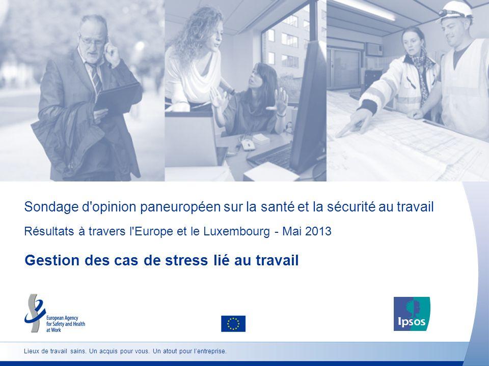 Sondage d opinion paneuropéen sur la santé et la sécurité au travail Résultats à travers l Europe et le Luxembourg - Mai 2013 Gestion des cas de stress lié au travail Lieux de travail sains.