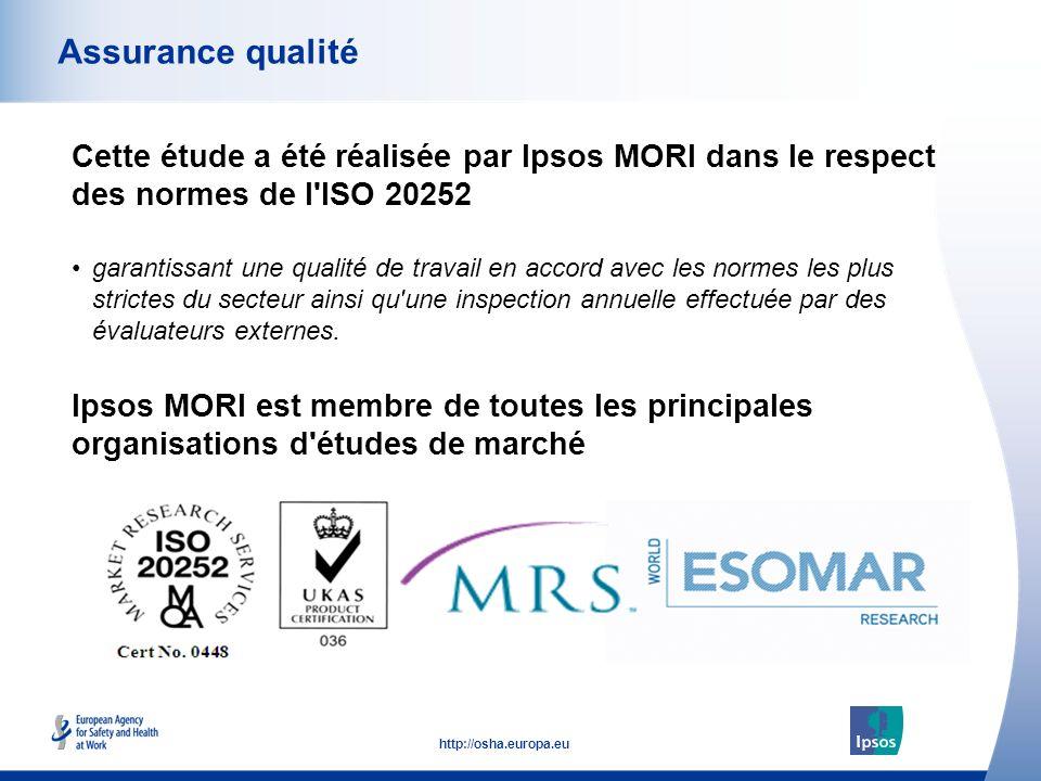 53 http://osha.europa.eu Cette étude a été réalisée par Ipsos MORI dans le respect des normes de l ISO 20252 Assurance qualité Ipsos MORI est membre de toutes les principales organisations d études de marché garantissant une qualité de travail en accord avec les normes les plus strictes du secteur ainsi qu une inspection annuelle effectuée par des évaluateurs externes.