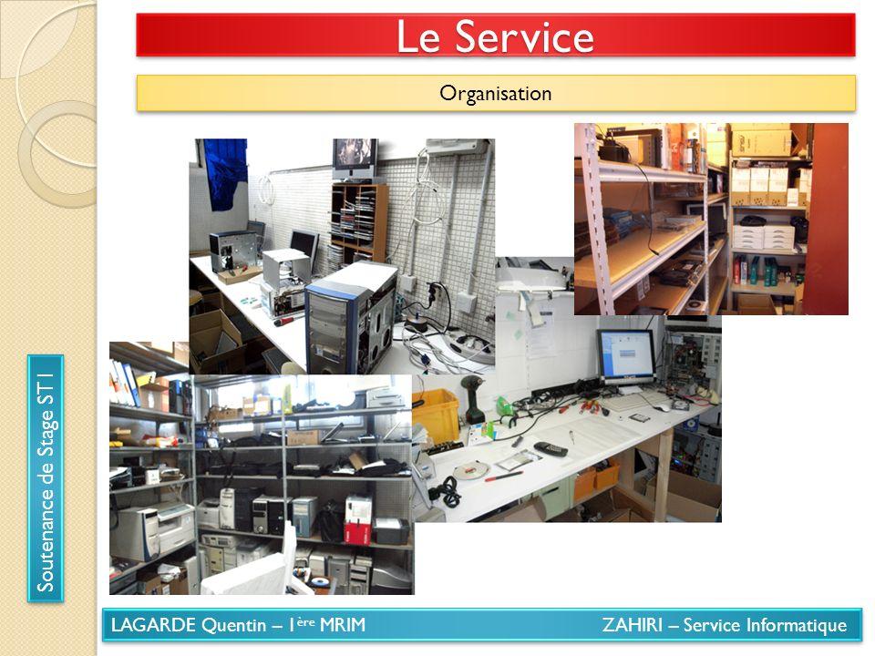 LAGARDE Quentin – 1 ère MRIM ZAHIRI – Service Informatique Soutenance de Stage ST1 Le Service Organisation