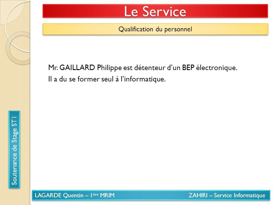 LAGARDE Quentin – 1 ère MRIM ZAHIRI – Service Informatique Soutenance de Stage ST1 Le Service Qualification du personnel Mr. GAILLARD Philippe est dét