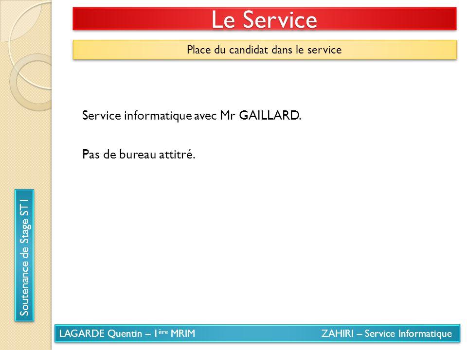 LAGARDE Quentin – 1 ère MRIM ZAHIRI – Service Informatique Soutenance de Stage ST1 Le Service Place du candidat dans le service Service informatique a