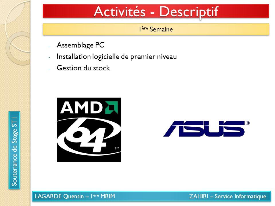 LAGARDE Quentin – 1 ère MRIM ZAHIRI – Service Informatique Soutenance de Stage ST1 Activités - Descriptif 1 ère Semaine - Assemblage PC - Installation