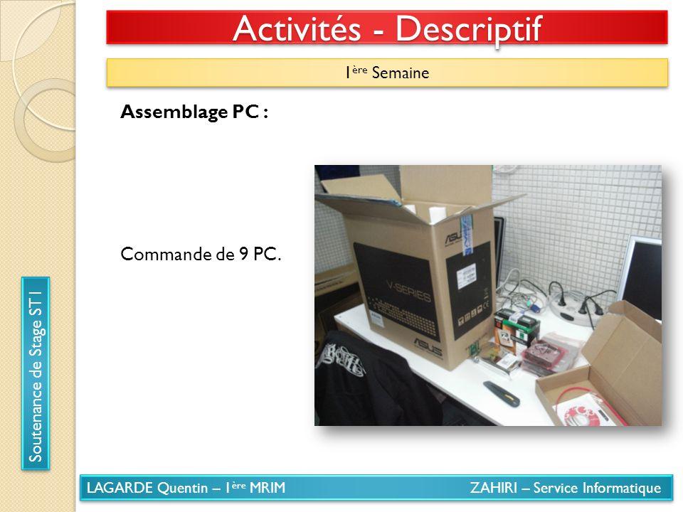 LAGARDE Quentin – 1 ère MRIM ZAHIRI – Service Informatique Soutenance de Stage ST1 Activités - Descriptif 1 ère Semaine Assemblage PC : Commande de 9