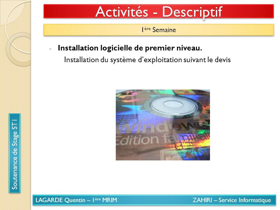 LAGARDE Quentin – 1 ère MRIM ZAHIRI – Service Informatique Soutenance de Stage ST1 Activités - Descriptif 1 ère Semaine - Installation logicielle de p