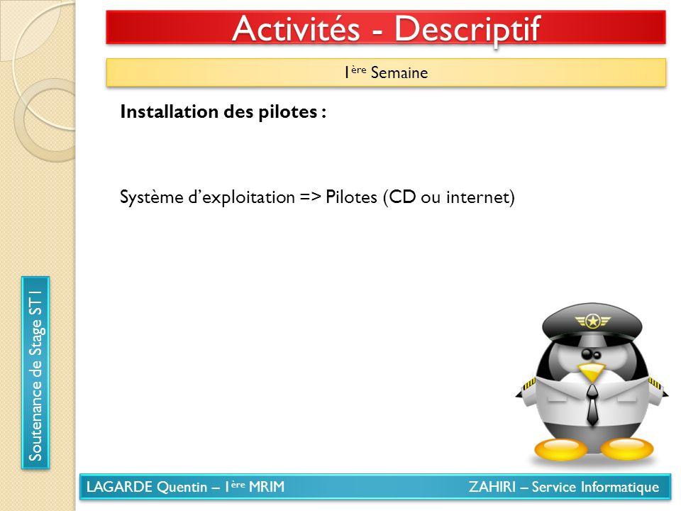 LAGARDE Quentin – 1 ère MRIM ZAHIRI – Service Informatique Soutenance de Stage ST1 Activités - Descriptif 1 ère Semaine Installation des pilotes : Sys