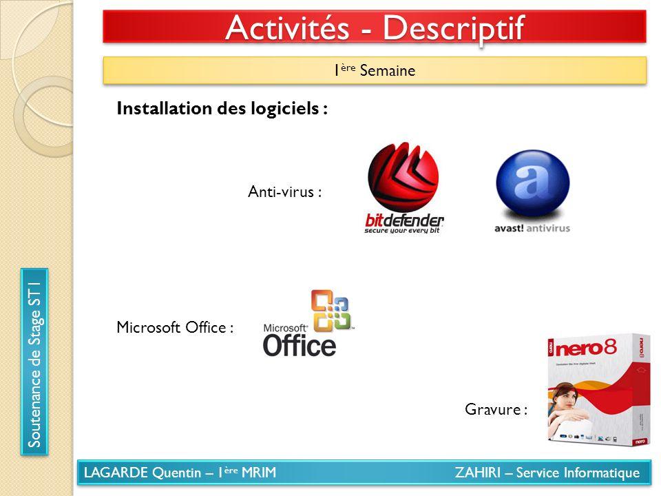 LAGARDE Quentin – 1 ère MRIM ZAHIRI – Service Informatique Soutenance de Stage ST1 Activités - Descriptif 1 ère Semaine Installation des logiciels : A