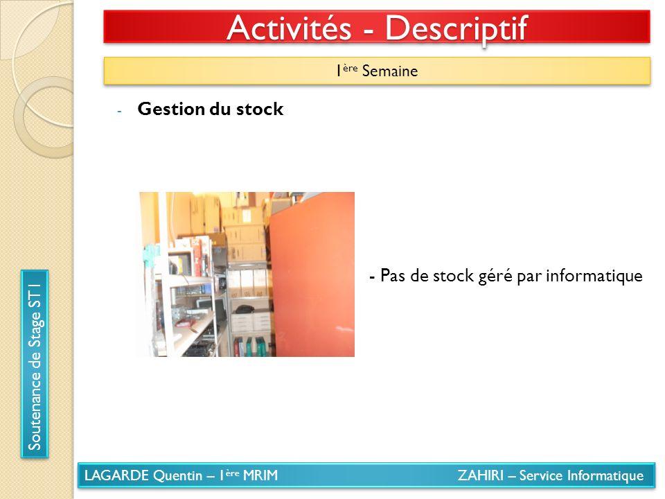 LAGARDE Quentin – 1 ère MRIM ZAHIRI – Service Informatique Soutenance de Stage ST1 Activités - Descriptif 1 ère Semaine - Gestion du stock - Pas de st