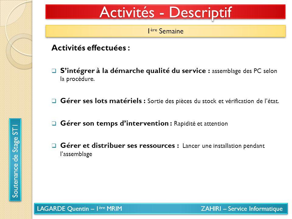 LAGARDE Quentin – 1 ère MRIM ZAHIRI – Service Informatique Soutenance de Stage ST1 Activités - Descriptif 1 ère Semaine Activités effectuées : Sintégr