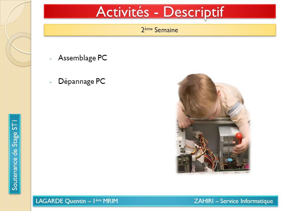 LAGARDE Quentin – 1 ère MRIM ZAHIRI – Service Informatique Soutenance de Stage ST1 Activités - Descriptif 2 ème Semaine - Assemblage PC - Dépannage PC