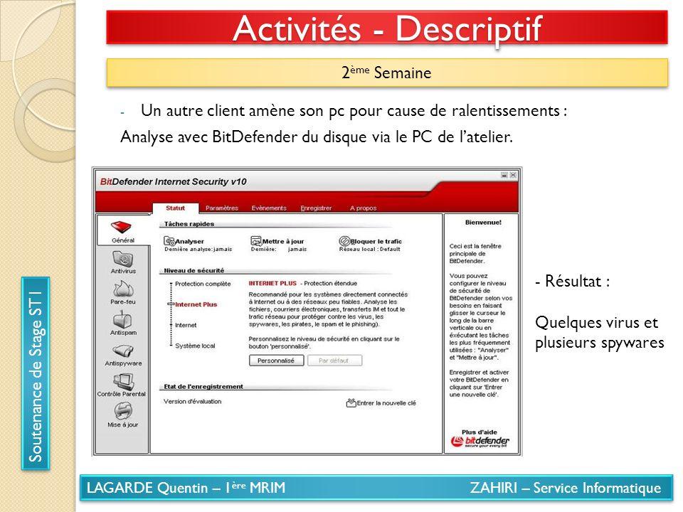 LAGARDE Quentin – 1 ère MRIM ZAHIRI – Service Informatique Soutenance de Stage ST1 Activités - Descriptif 2 ème Semaine - Un autre client amène son pc