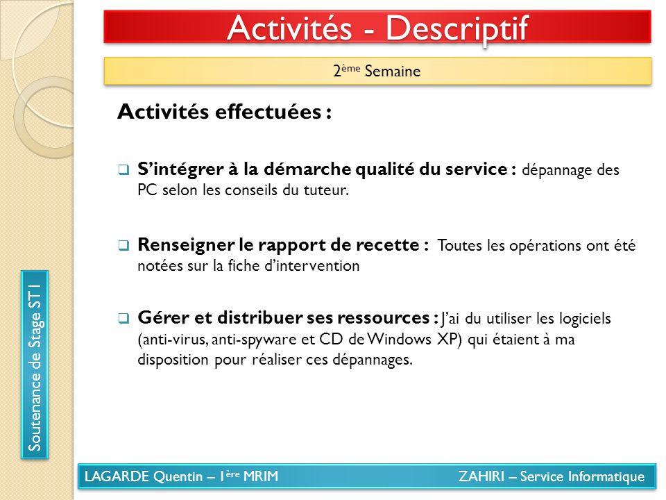 LAGARDE Quentin – 1 ère MRIM ZAHIRI – Service Informatique Soutenance de Stage ST1 Activités - Descriptif 2 ème Semaine Activités effectuées : Sintégr