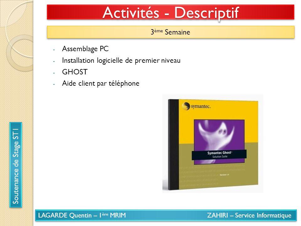 LAGARDE Quentin – 1 ère MRIM ZAHIRI – Service Informatique Soutenance de Stage ST1 Activités - Descriptif 3 ème Semaine - Assemblage PC - Installation