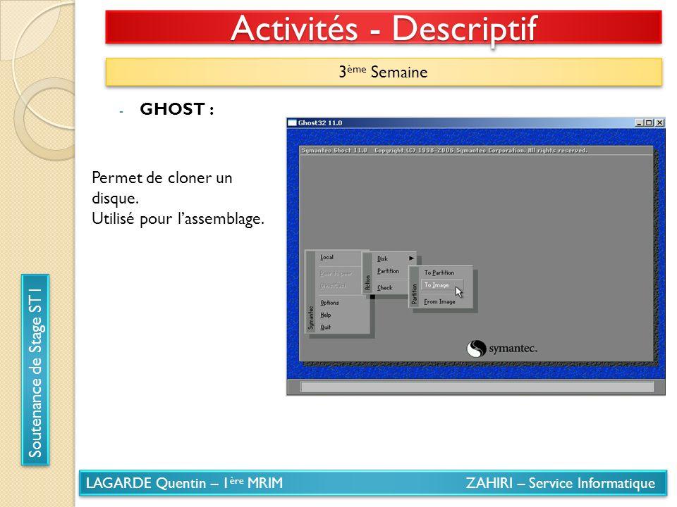 LAGARDE Quentin – 1 ère MRIM ZAHIRI – Service Informatique Soutenance de Stage ST1 Activités - Descriptif 3 ème Semaine - GHOST : Permet de cloner un