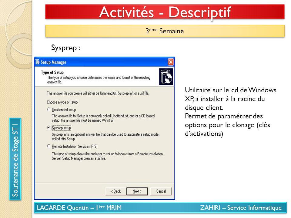 LAGARDE Quentin – 1 ère MRIM ZAHIRI – Service Informatique Soutenance de Stage ST1 Activités - Descriptif 3 ème Semaine Sysprep : Utilitaire sur le cd