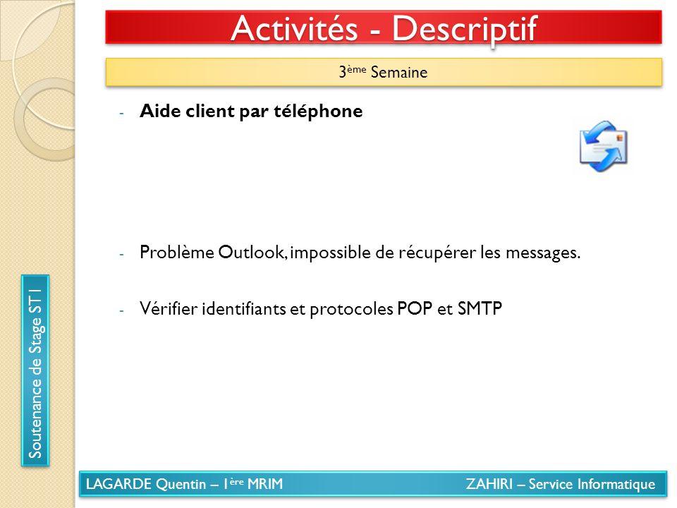 LAGARDE Quentin – 1 ère MRIM ZAHIRI – Service Informatique Soutenance de Stage ST1 Activités - Descriptif 3 ème Semaine - Aide client par téléphone -