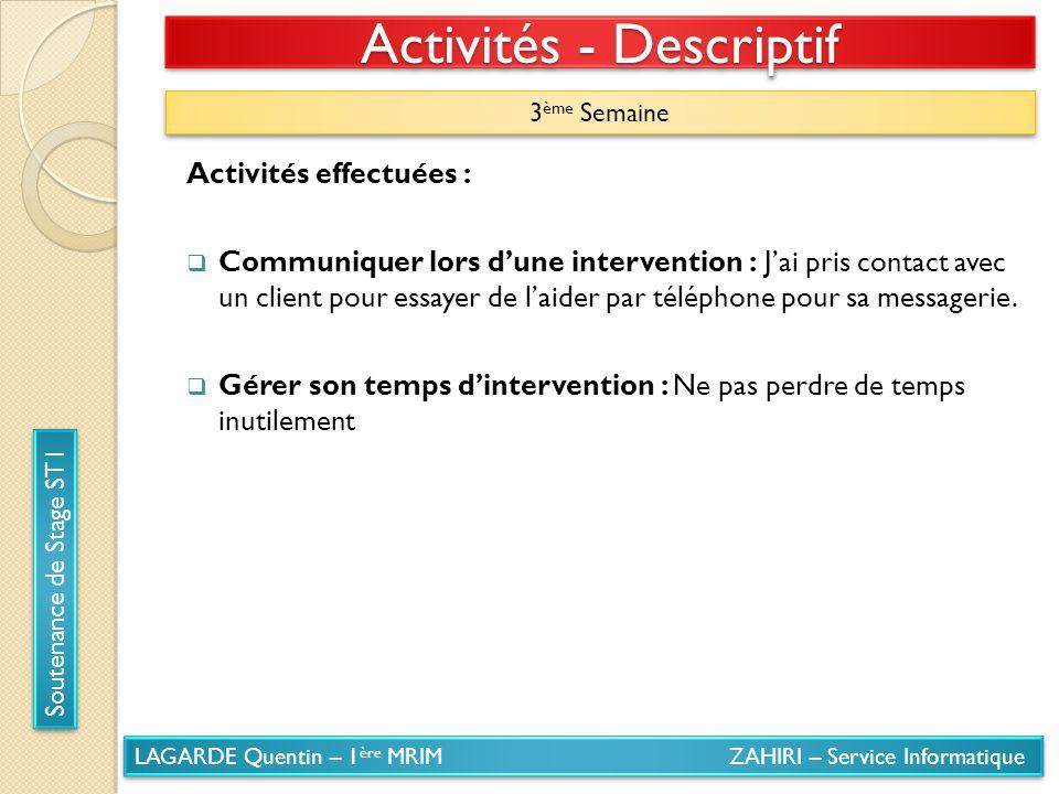 LAGARDE Quentin – 1 ère MRIM ZAHIRI – Service Informatique Soutenance de Stage ST1 Activités - Descriptif 3 ème Semaine Activités effectuées : Communi
