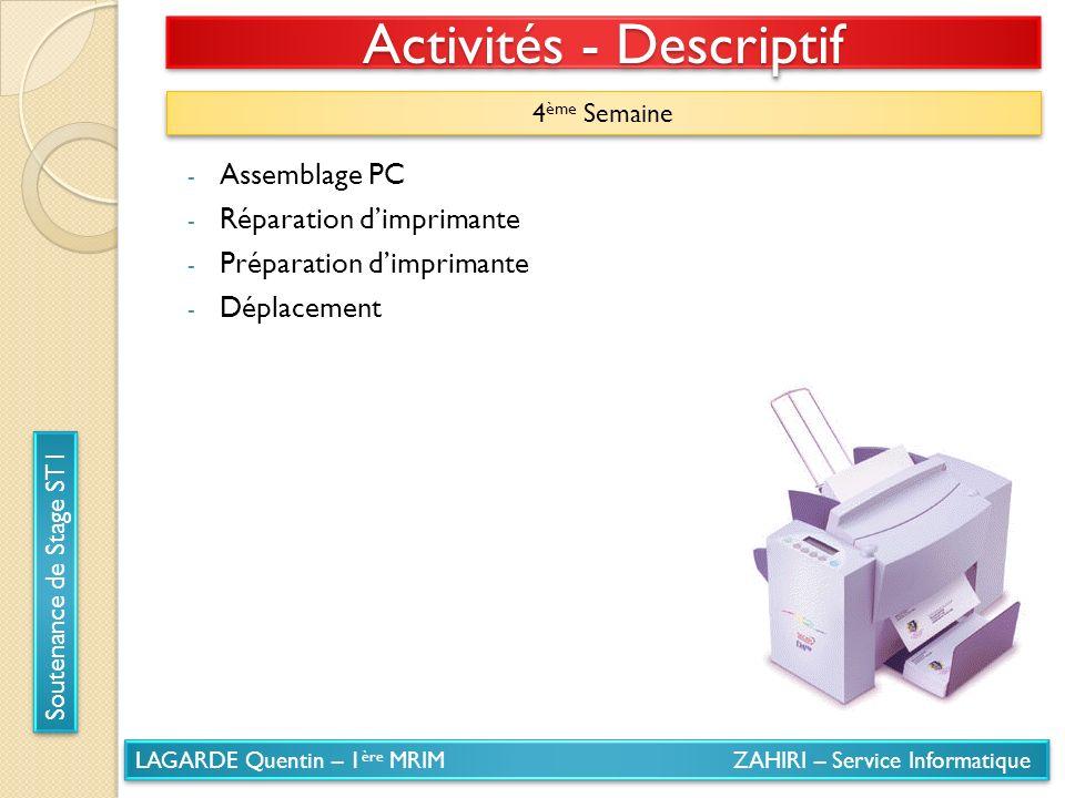 LAGARDE Quentin – 1 ère MRIM ZAHIRI – Service Informatique Soutenance de Stage ST1 Activités - Descriptif 4 ème Semaine - Assemblage PC - Réparation d